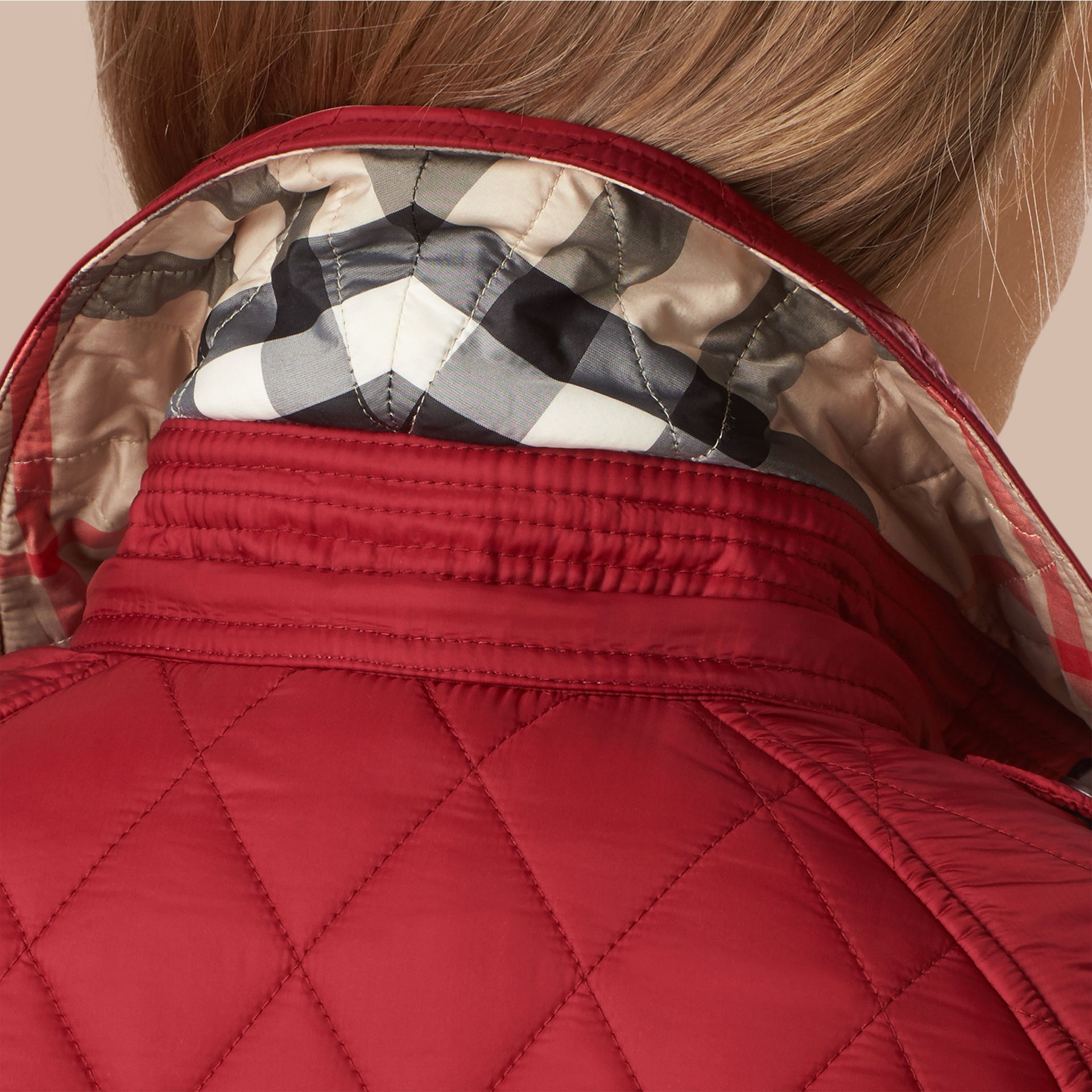Quilted Trench Jacket with Detachable Hood Dark Crimson - gallery image 2