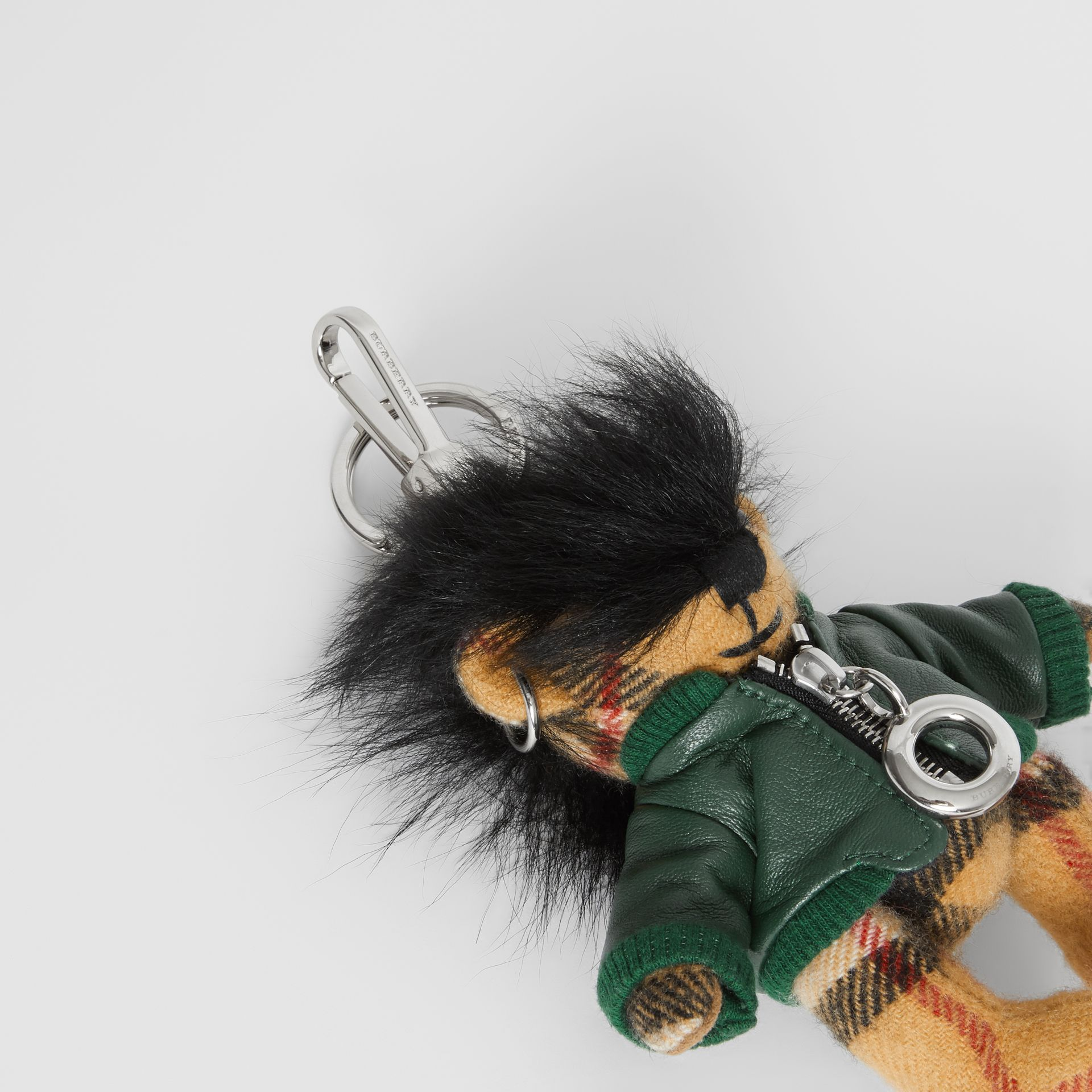 Thomas Bear Charm in Leather Jacket in Canvas Green | Burberry United Kingdom - gallery image 1