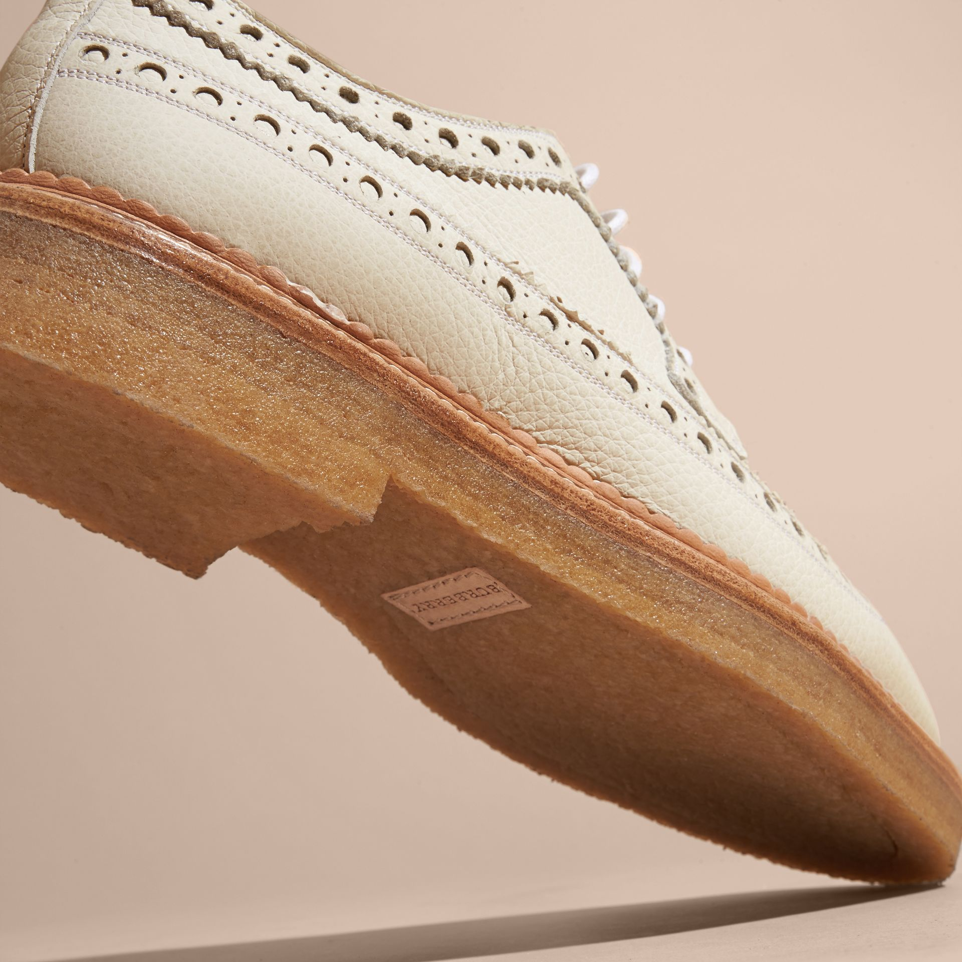 Leather Wingtip Brogues Off White - gallery image 5