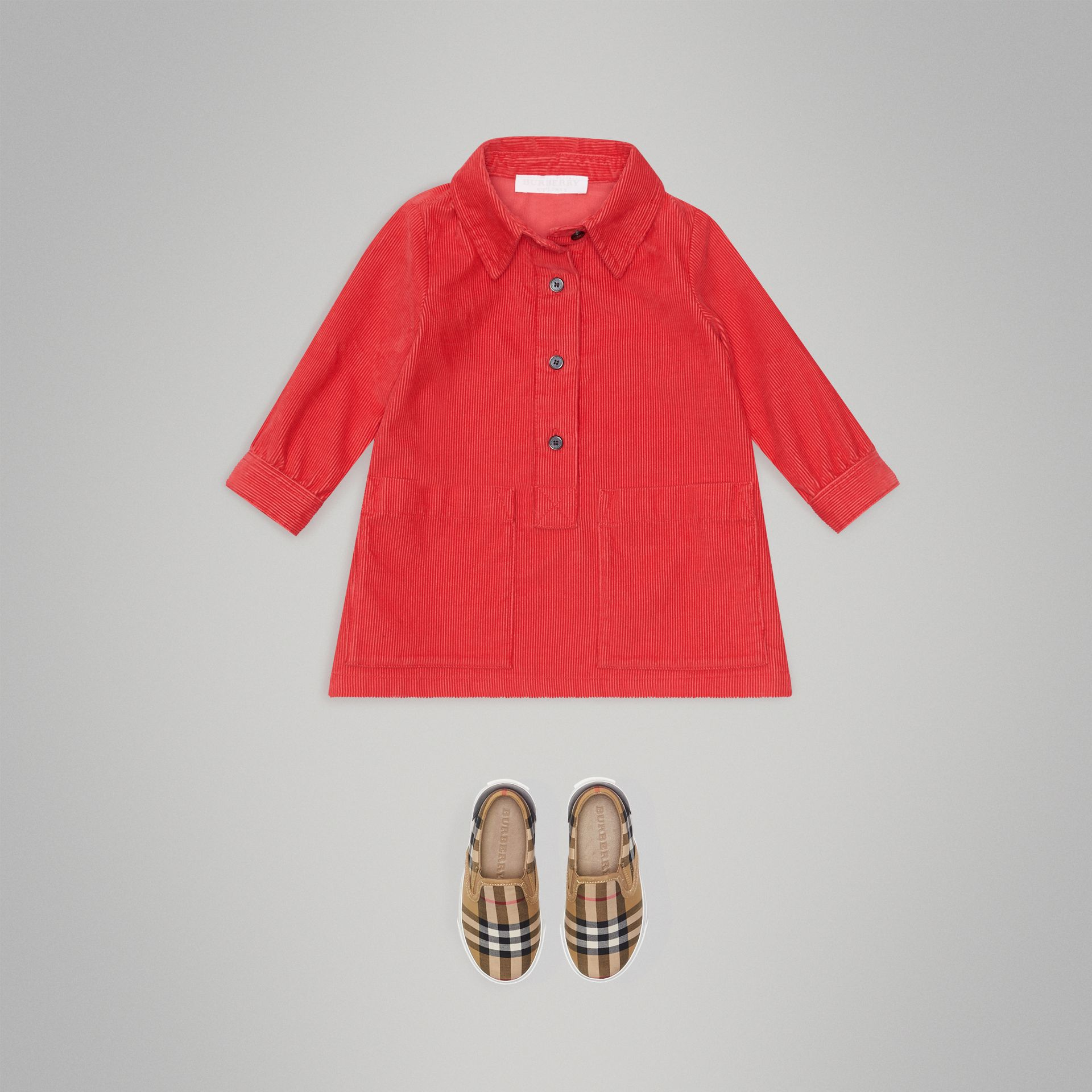 Corduroy Shirt Dress in Bright Orange Red | Burberry - gallery image 2