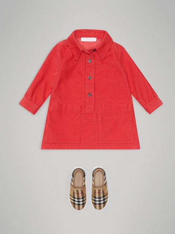 Corduroy Shirt Dress in Bright Orange Red | Burberry - cell image 2