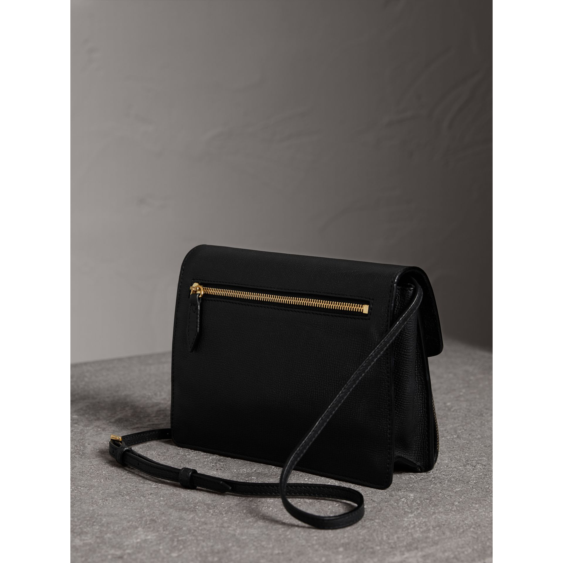 Small Leather and House Check Crossbody Bag in Black - Women | Burberry - gallery image 4