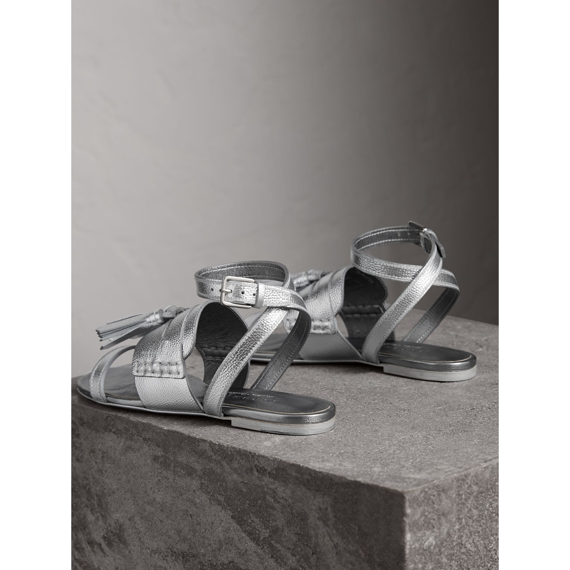 Tasselled Metallic Leather Sandals in Silver - Women | Burberry - gallery image 3