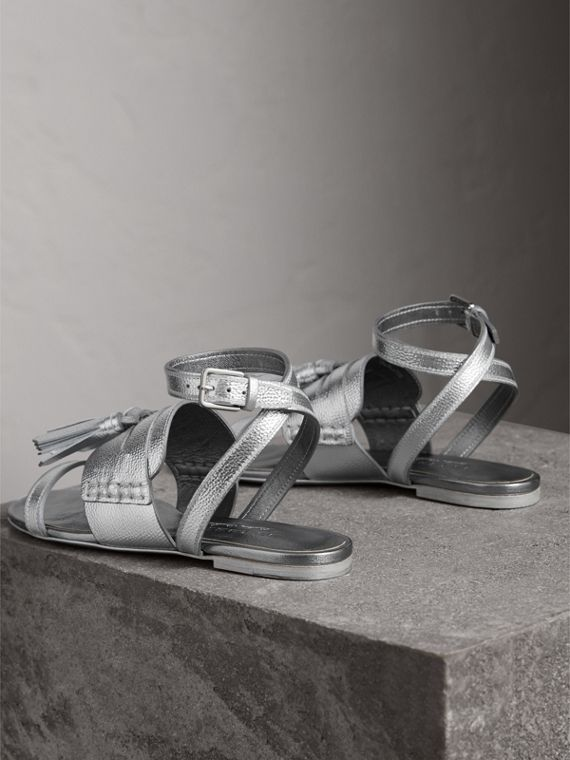 Tasselled Metallic Leather Sandals in Silver - Women | Burberry Singapore - cell image 3
