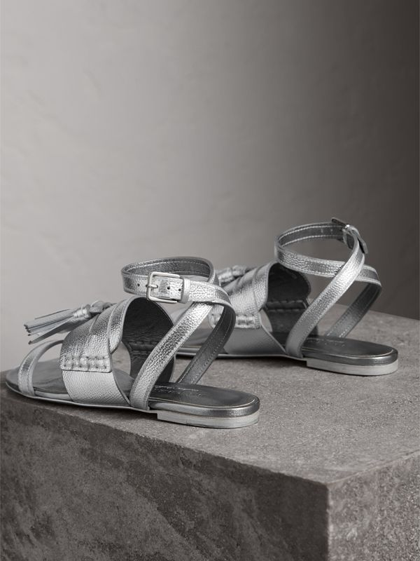 Tasselled Metallic Leather Sandals in Silver - Women | Burberry - cell image 3