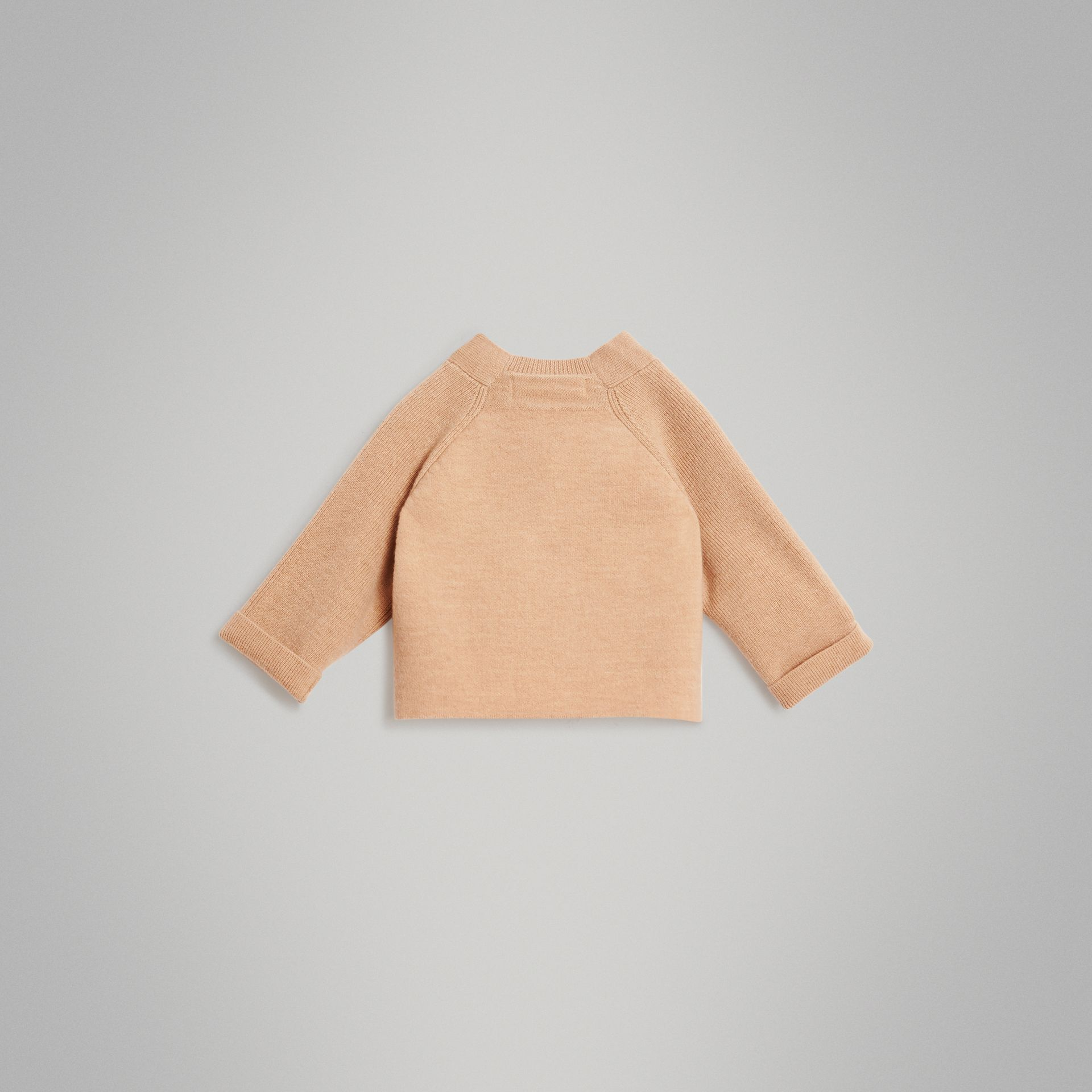 Cashmere Cotton Knit Cardigan in Peach - Children | Burberry United Kingdom - gallery image 3
