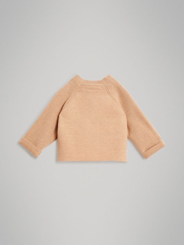 Cashmere Cotton Knit Cardigan in Peach - Children | Burberry United Kingdom - cell image 3