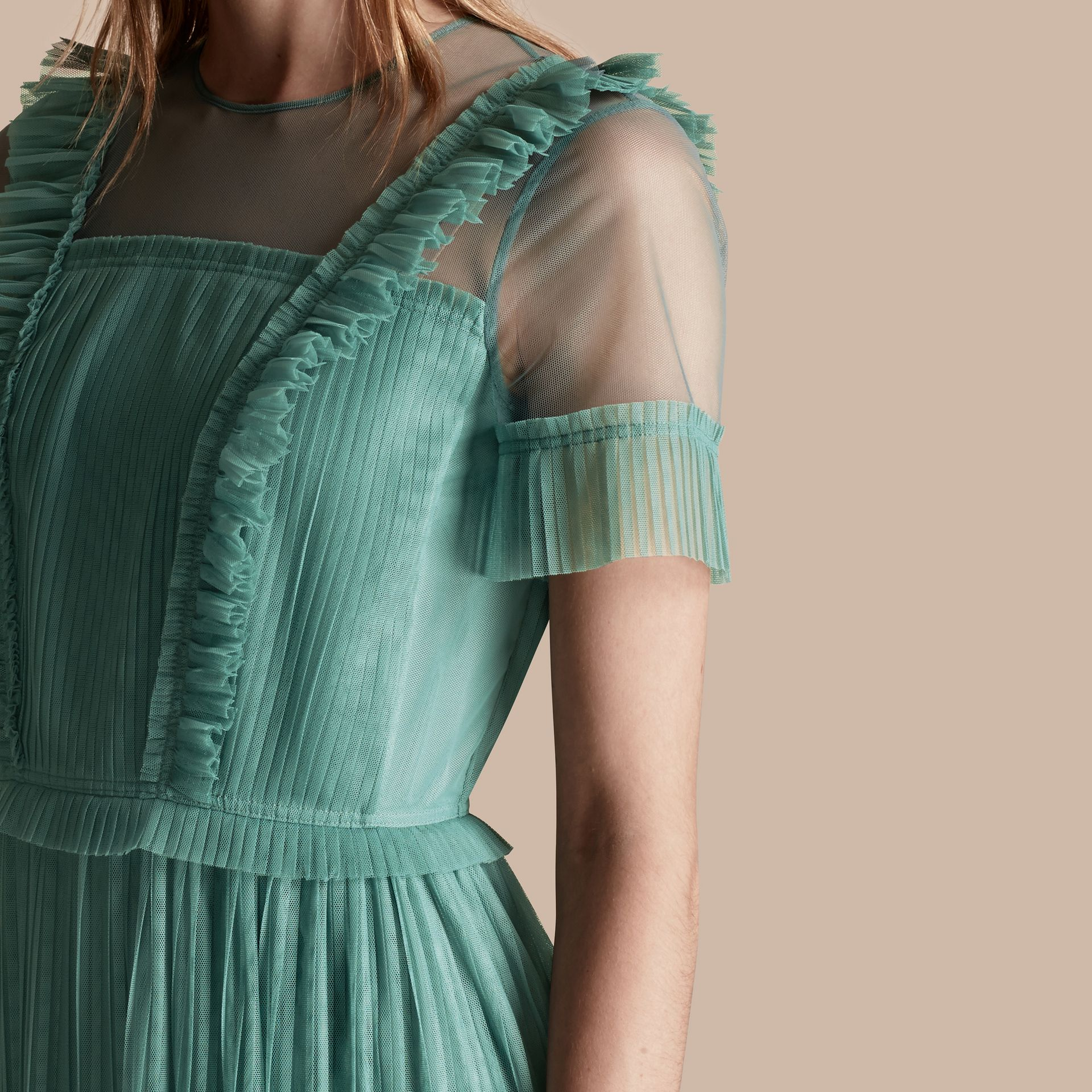 Aqua green Ruffle Detail Floor-length Dress - gallery image 5
