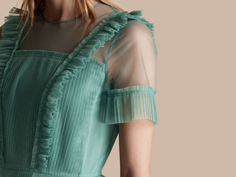 Aqua green Ruffle Detail Floor-length Dress - cell image 4