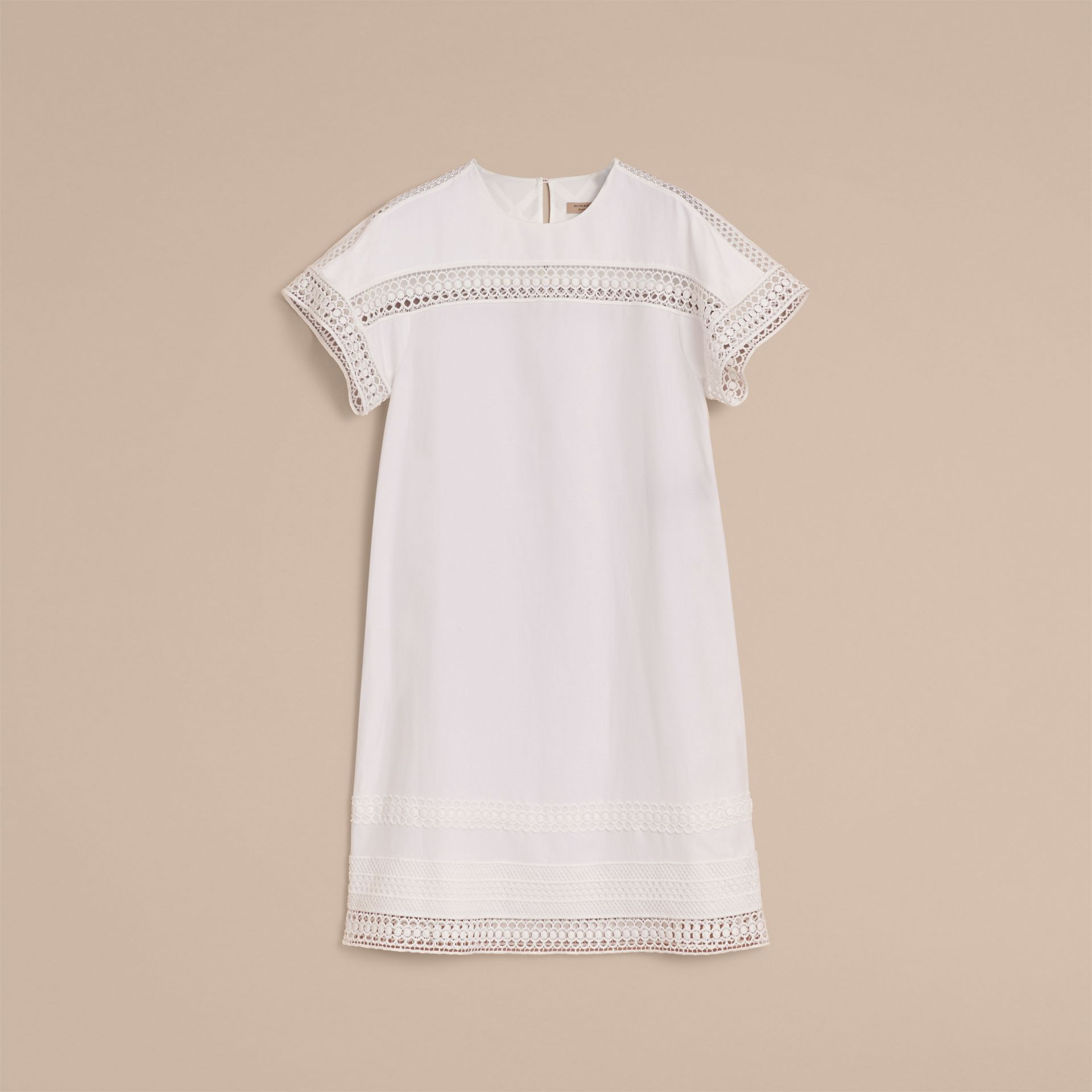 Short-sleeved Macramé Lace Detail Silk Blend Dress - gallery image 4