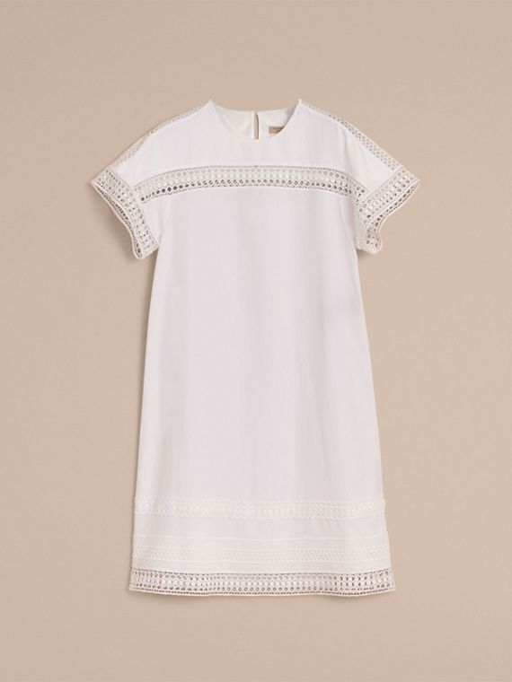 Short-sleeved Macramé Lace Detail Silk Blend Dress - cell image 3