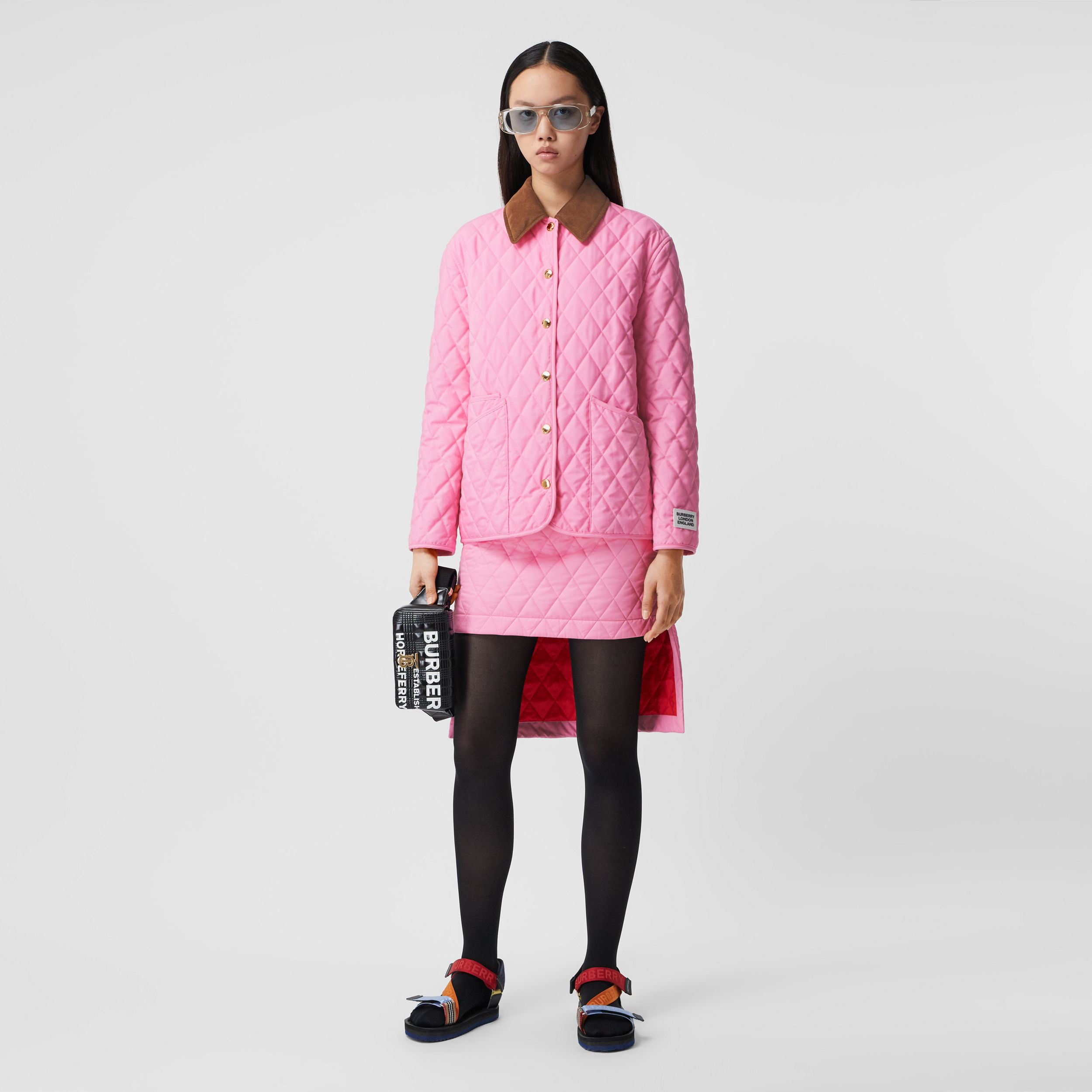 Corduroy Collar Diamond Quilted Jacket in Bubblegum Pink - Women | Burberry - 1
