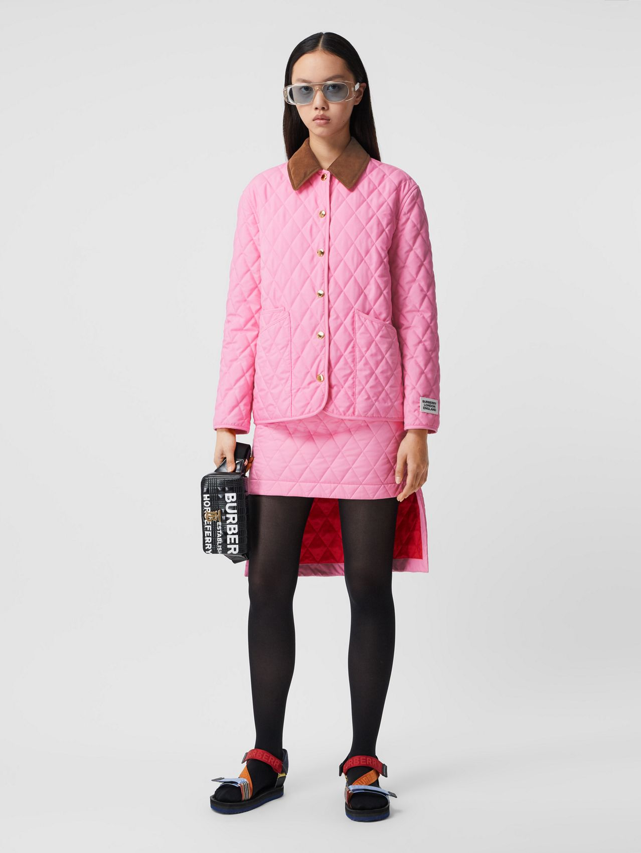 Corduroy Collar Diamond Quilted Jacket in Bubblegum Pink