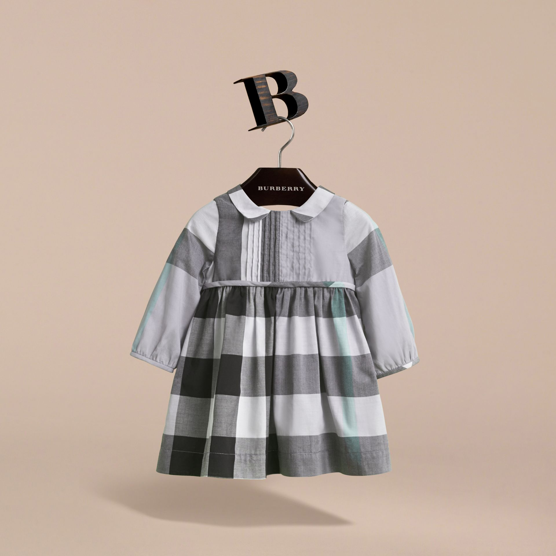 Long-sleeve Check Pintuck Bib Cotton Dress in Pale Stone Blue | Burberry - gallery image 2