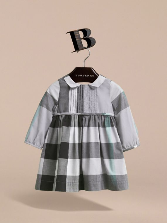 Long-sleeve Check Pintuck Bib Cotton Dress in Pale Stone Blue | Burberry - cell image 2