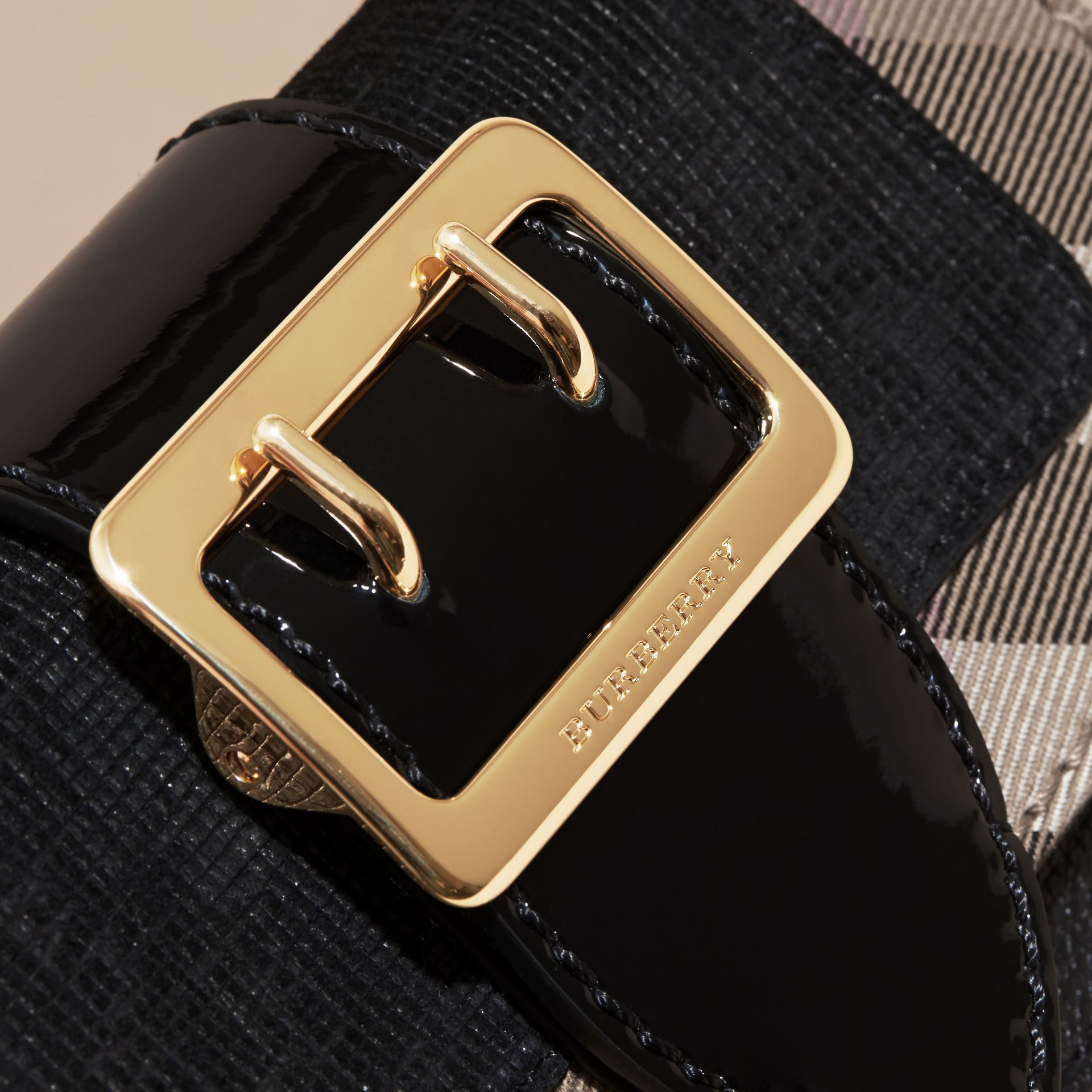 The Mini Buckle Bag in Leather and House Check in Black - Women | Burberry Australia - gallery image 2