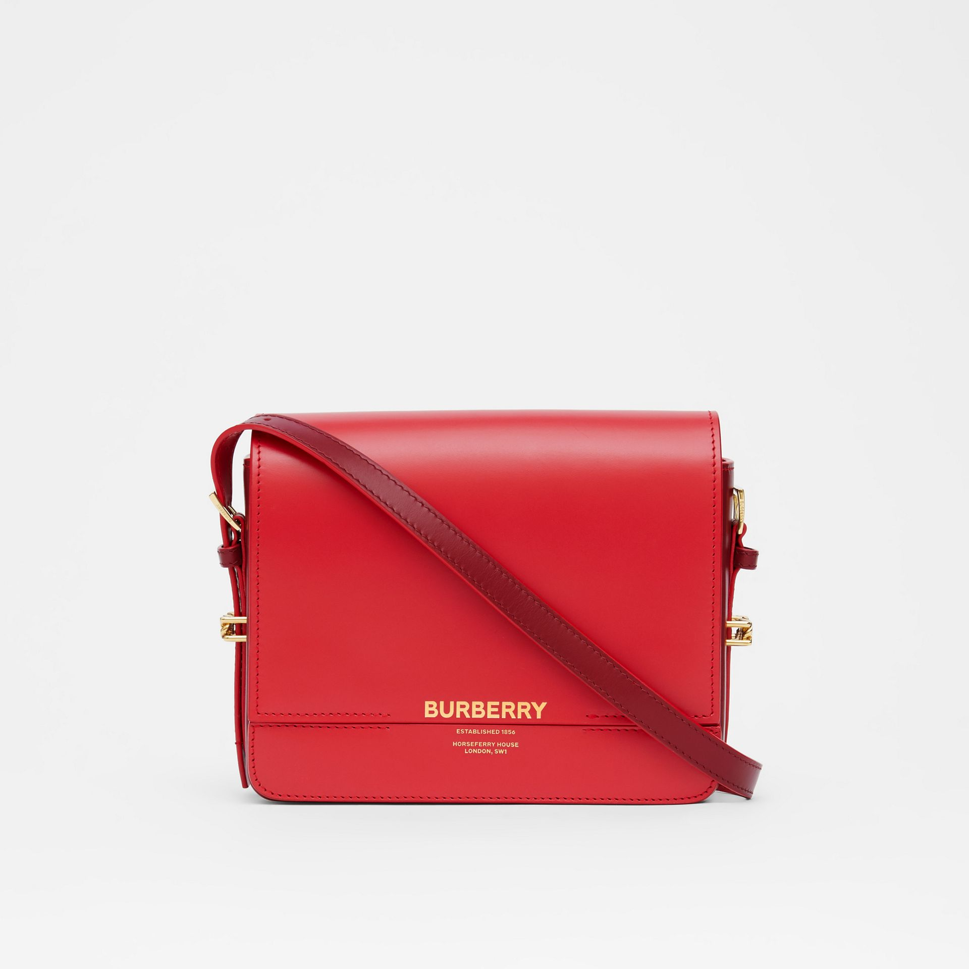 Small Two-tone Leather Grace Bag in Bright Red/burgundy - Women | Burberry - gallery image 0