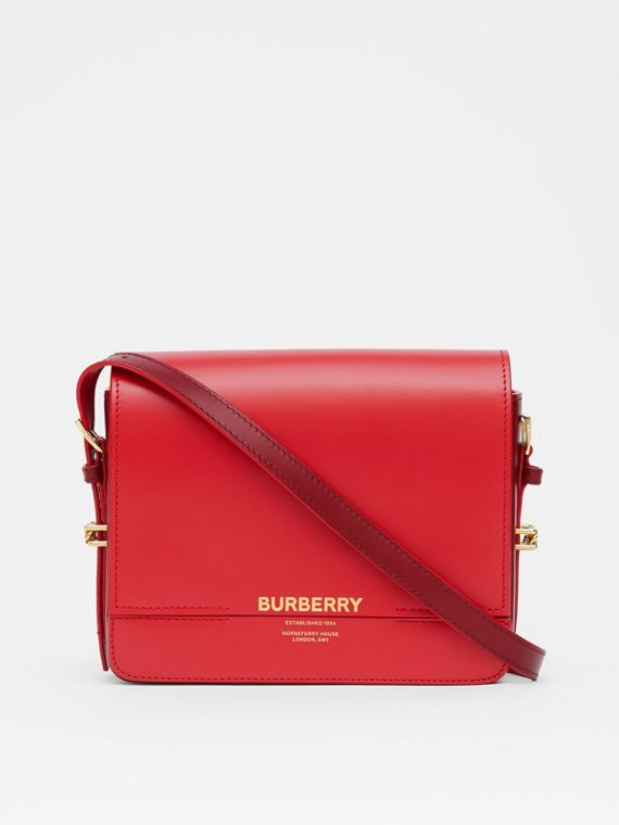 Small Two-tone Leather Grace Bag in Bright Red/burgundy