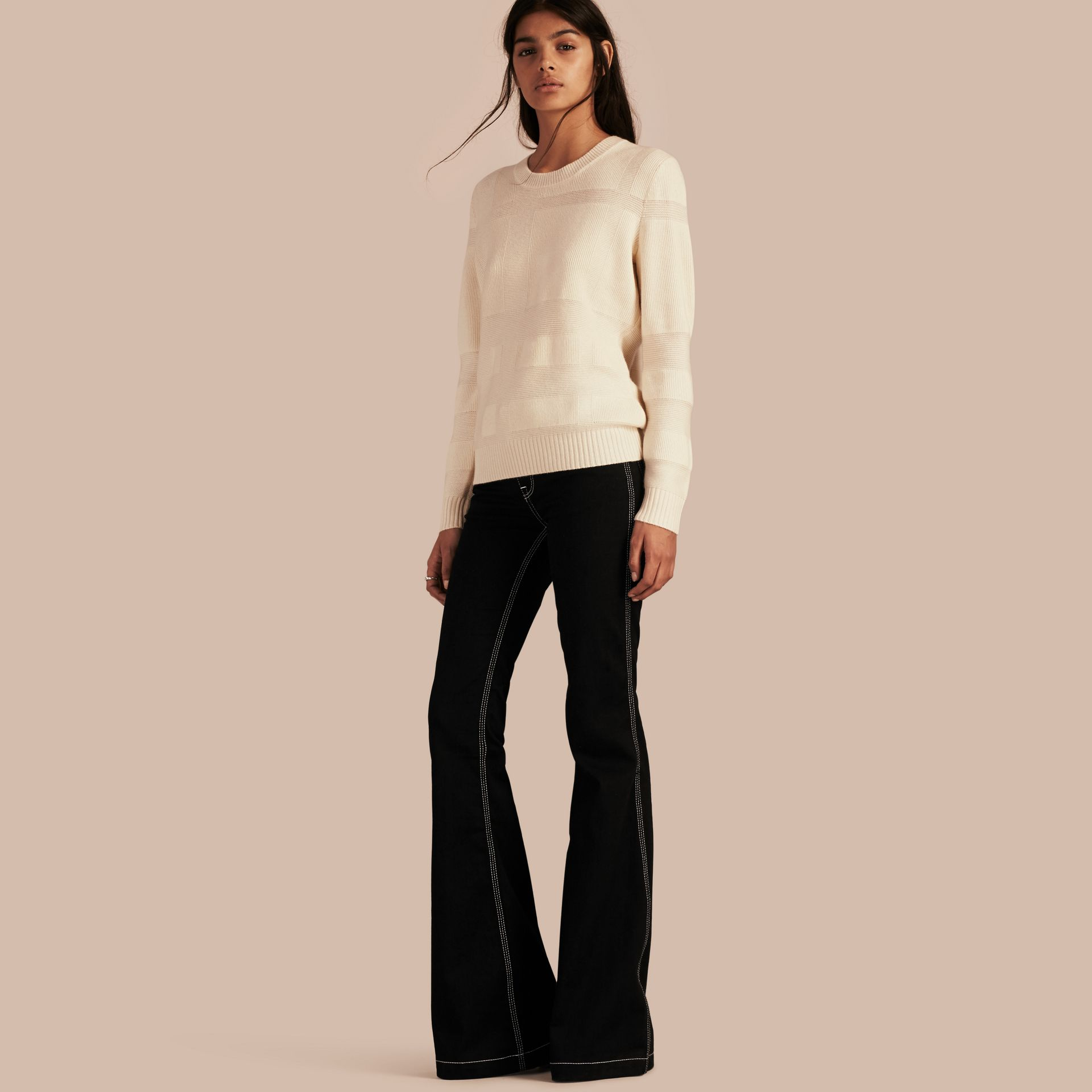 Check-knit Wool Cashmere Sweater Natural White - gallery image 1