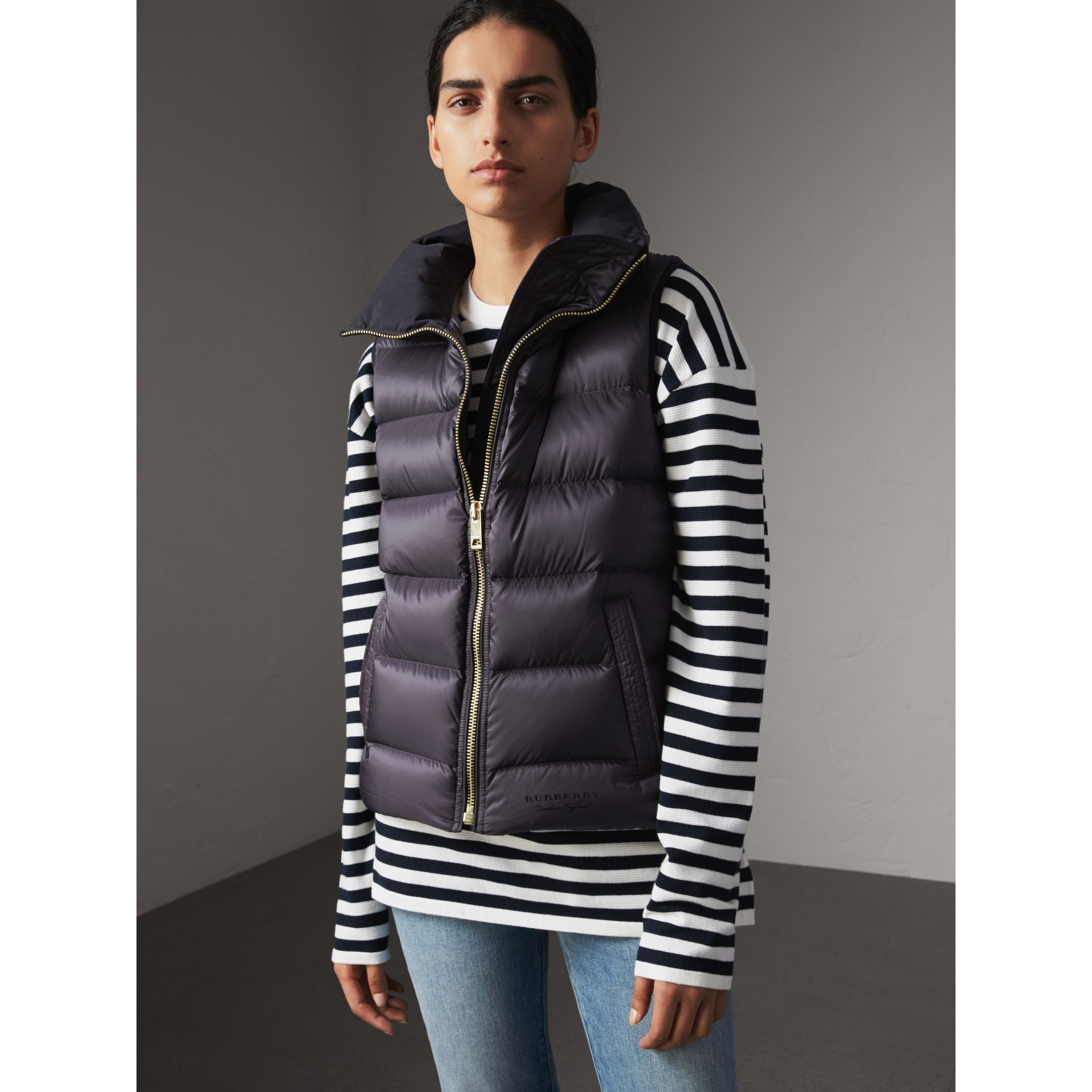 Down-filled Gilet in Blue Black - Women | Burberry - gallery image 1