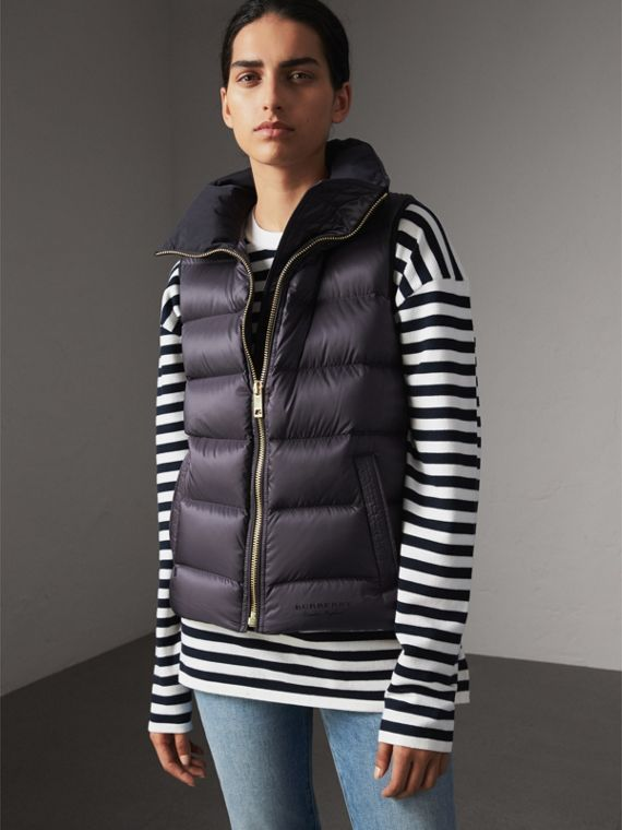 Down-filled Gilet in Blue Black