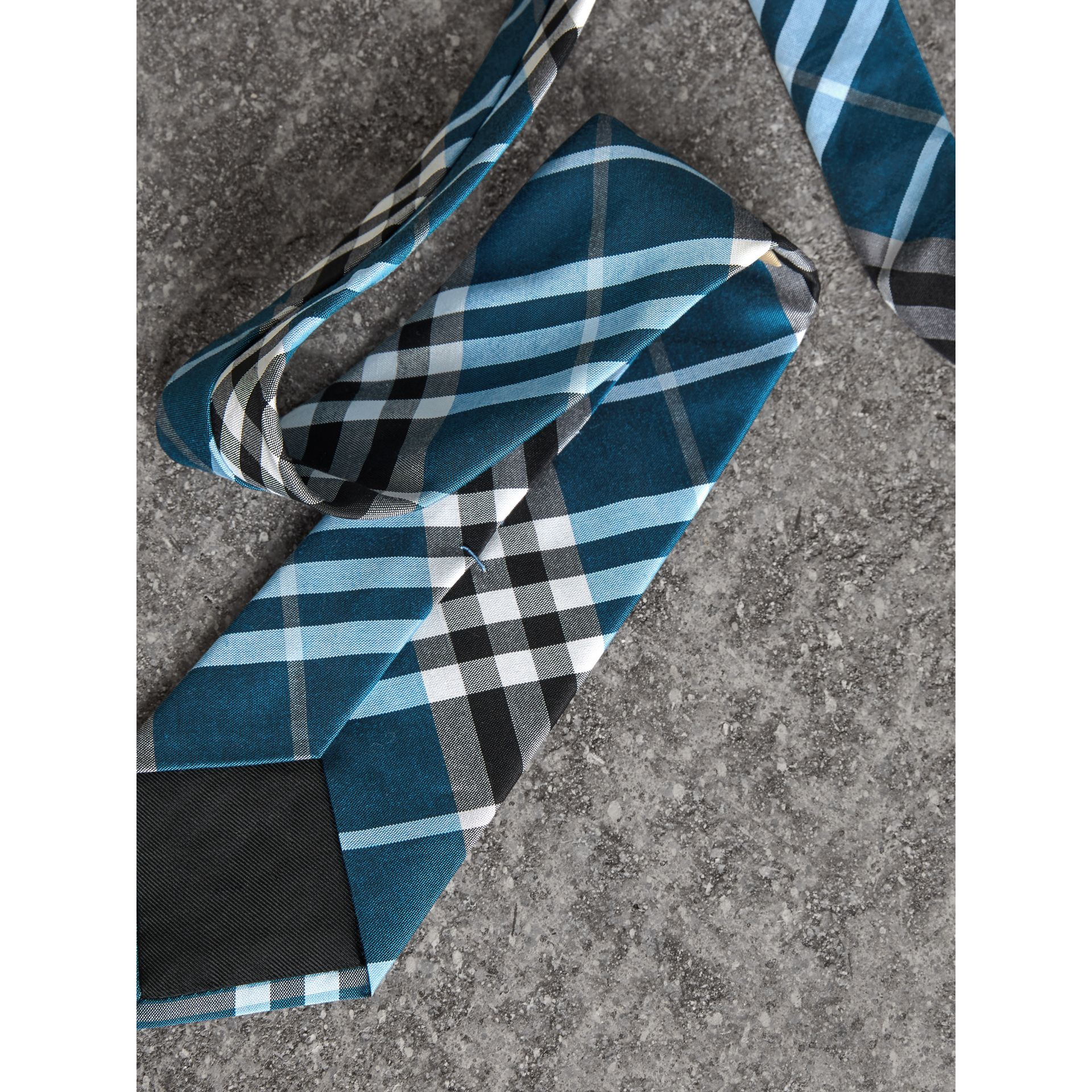 Modern Cut Check Silk Tie in Bright Cobalt - Men | Burberry United Kingdom - gallery image 1
