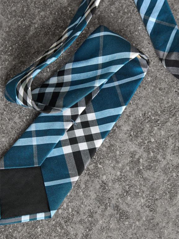 Modern Cut Check Silk Tie in Bright Cobalt - Men | Burberry United Kingdom - cell image 1
