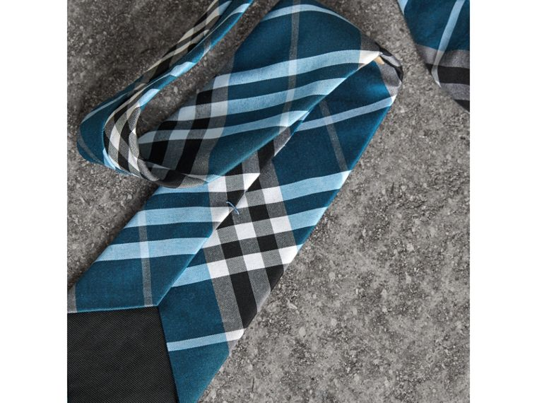 Modern Cut Check Silk Tie in Bright Cobalt - Men | Burberry Hong Kong - cell image 1