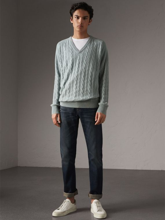 Cable and Rib Knit Cashmere V-neck Sweater in Powder Blue