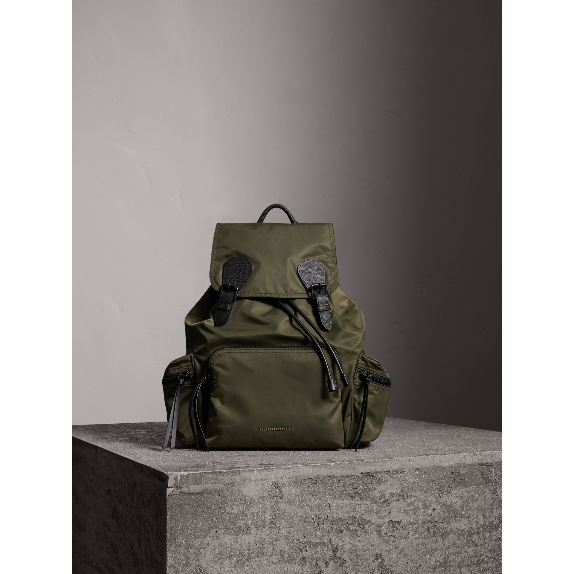 The Large Rucksack in Technical Nylon and Leather in Canvas Green | Burberry - gallery image 2