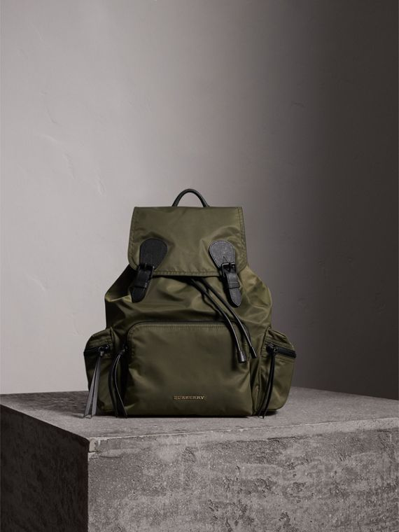 The Large Rucksack in Technical Nylon and Leather in Canvas Green | Burberry - cell image 2