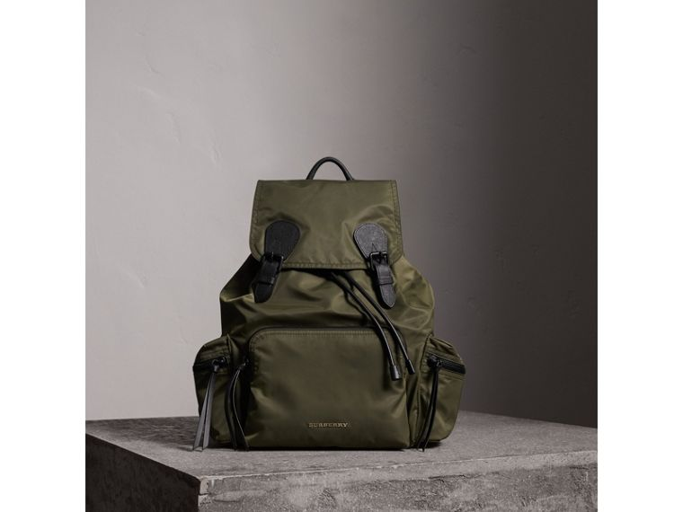 The Large Rucksack in Technical Nylon and Leather in Canvas Green - Men | Burberry - cell image 1