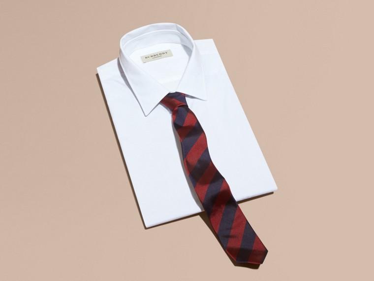 Parade red Slim Cut Stripe Jacquard Silk Tie Parade Red - cell image 2