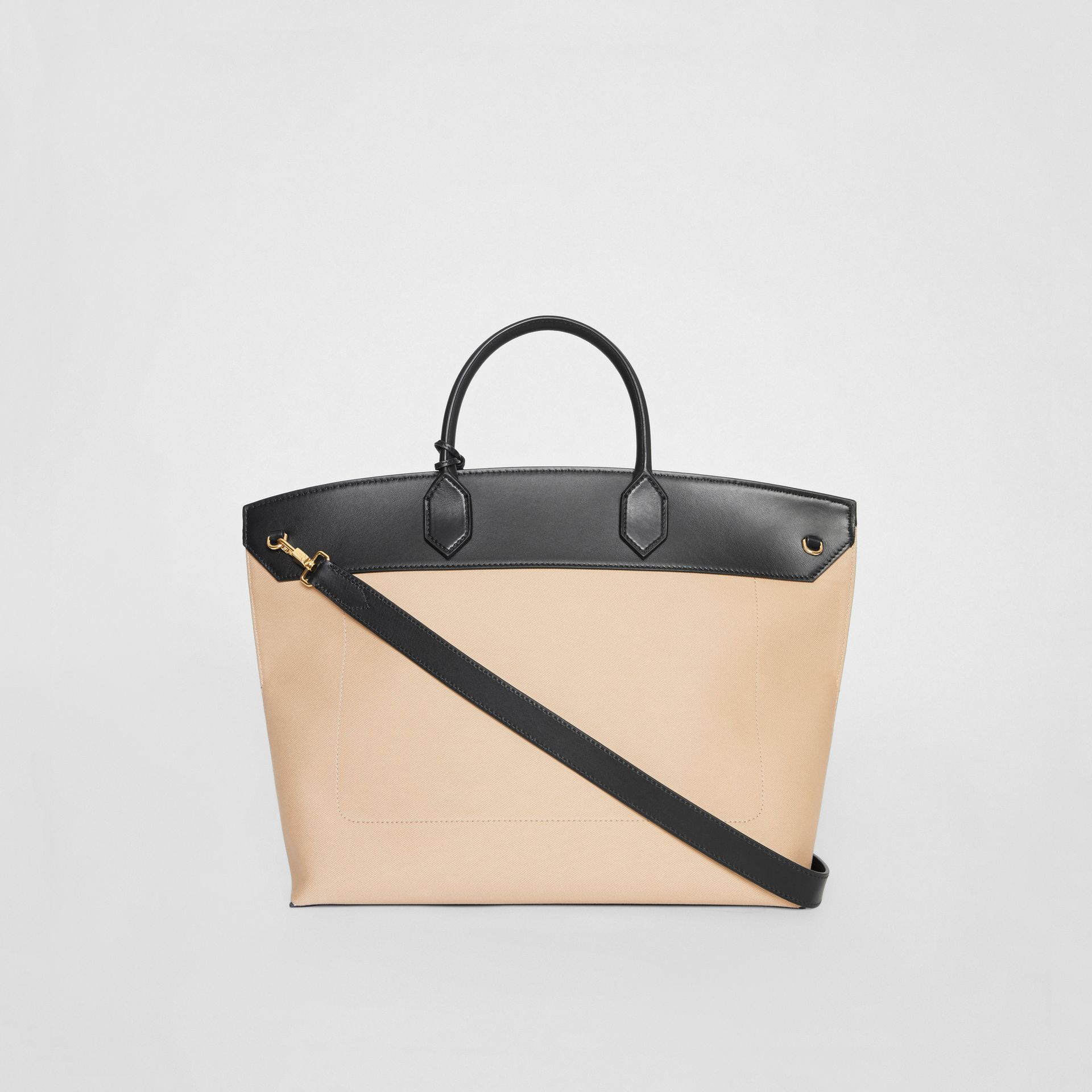 Cotton Canvas and Leather Society Top Handle Bag in Black/honey - Women | Burberry - gallery image 7