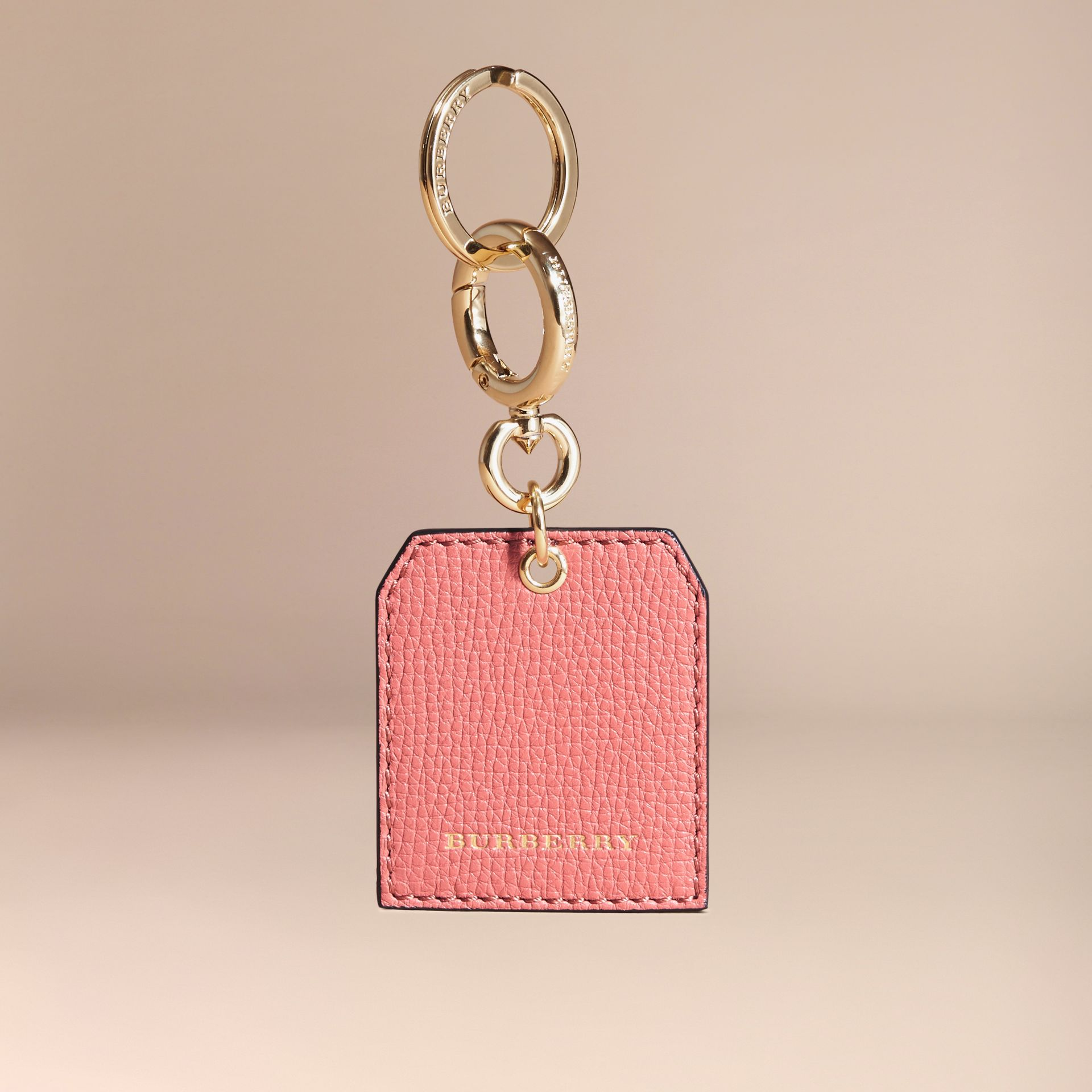 Grainy Leather Key Charm in Copper Pink | Burberry - gallery image 5