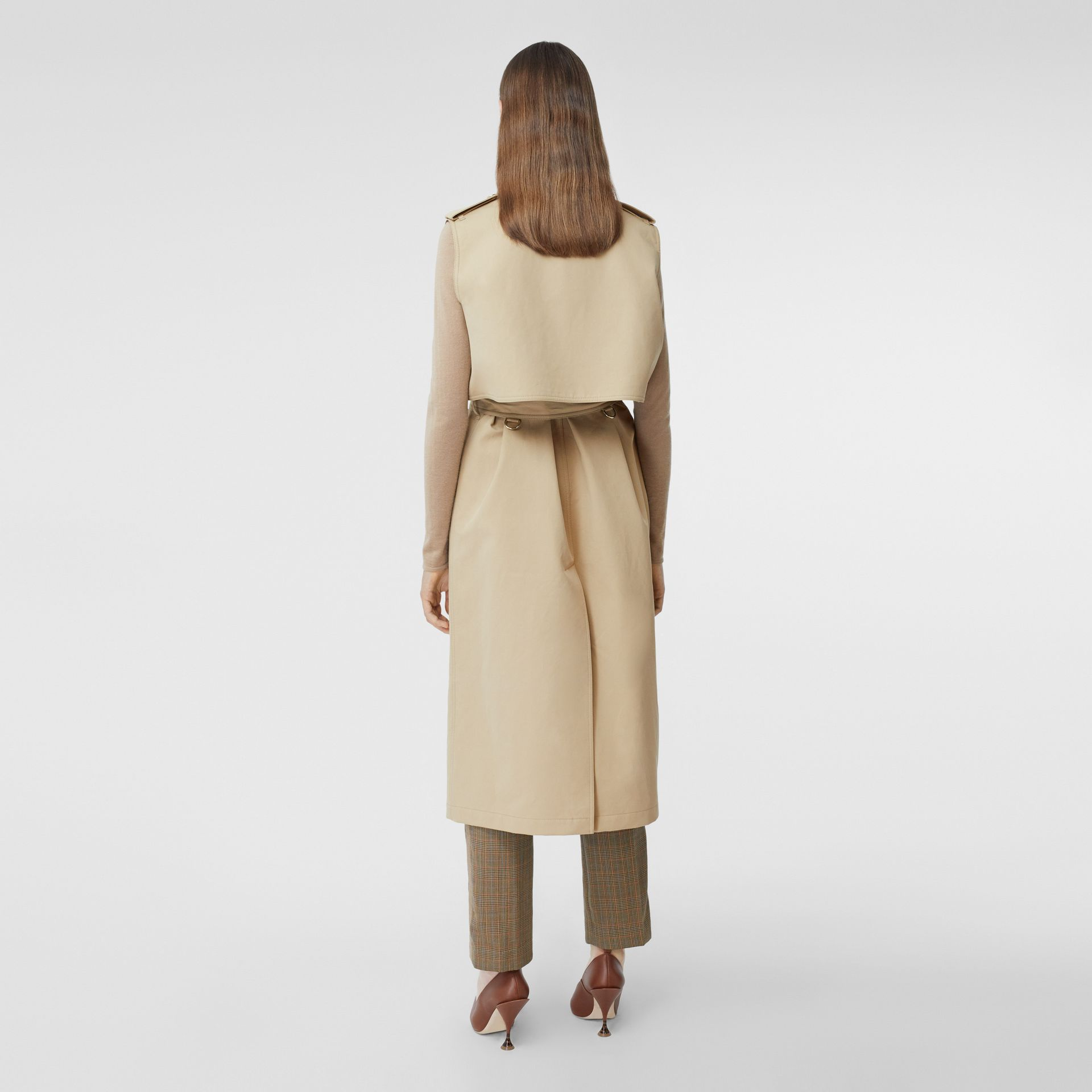 Sleeveless Monogram-lined Cotton Trench Coat in Honey - Women | Burberry - gallery image 2