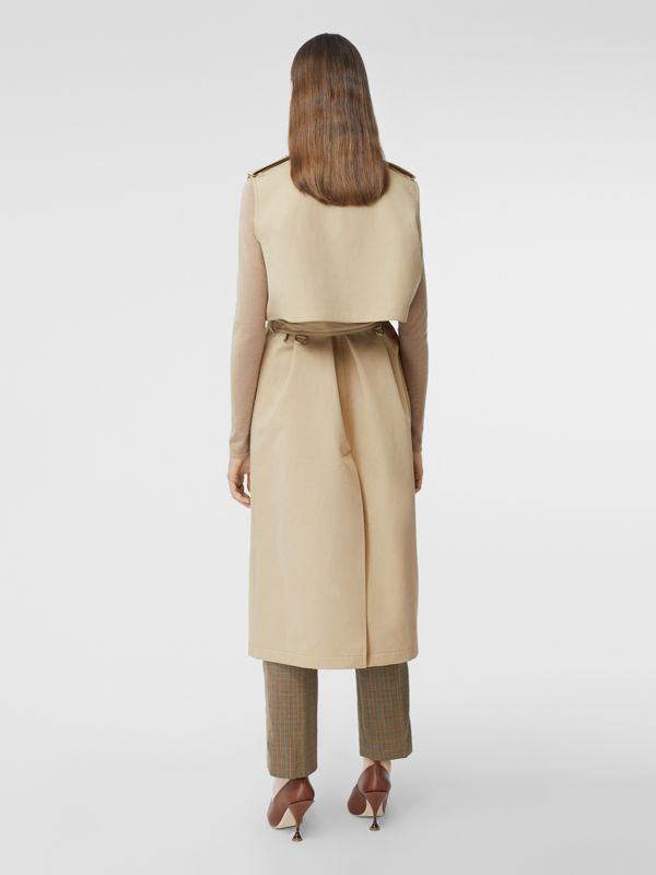 Sleeveless Monogram-lined Cotton Trench Coat in Honey - Women | Burberry - cell image 2