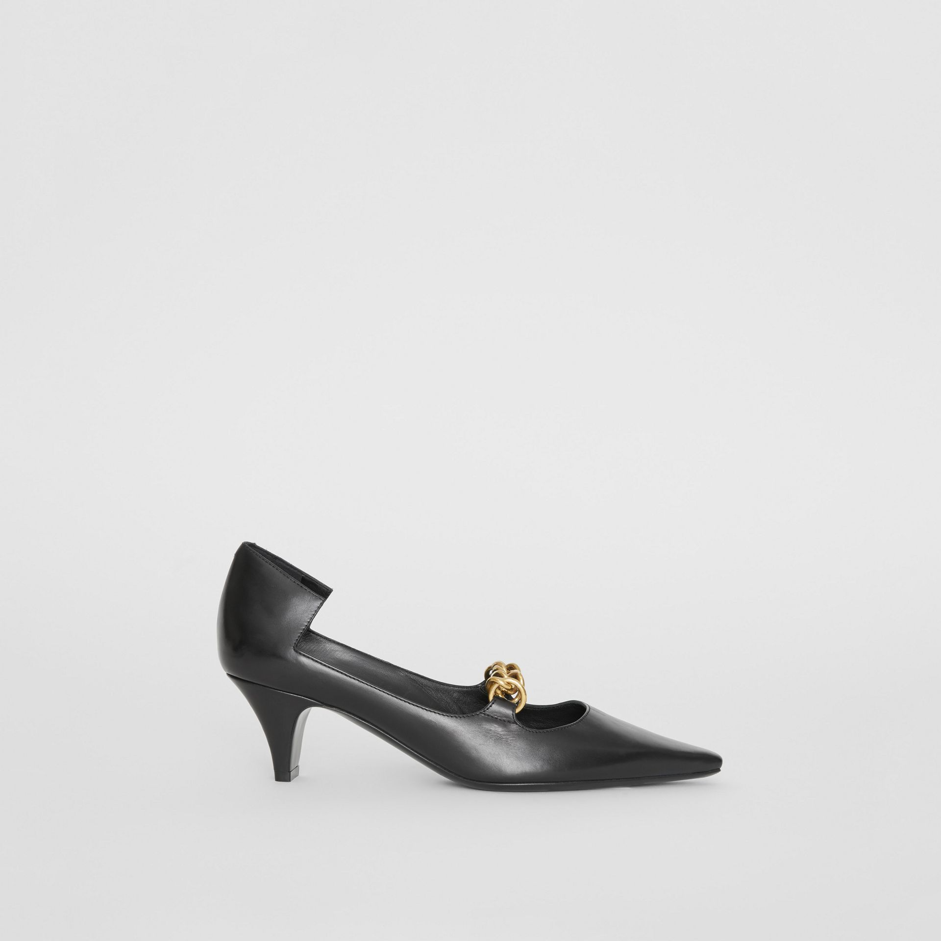 Link Detail Leather Pumps in Black - Women | Burberry United States - gallery image 5