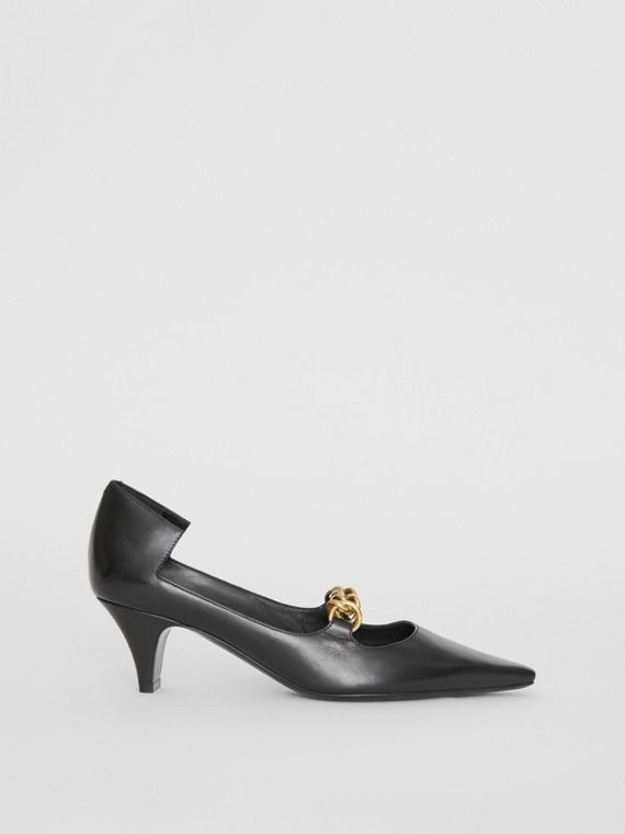 Link Detail Leather Pumps in Black