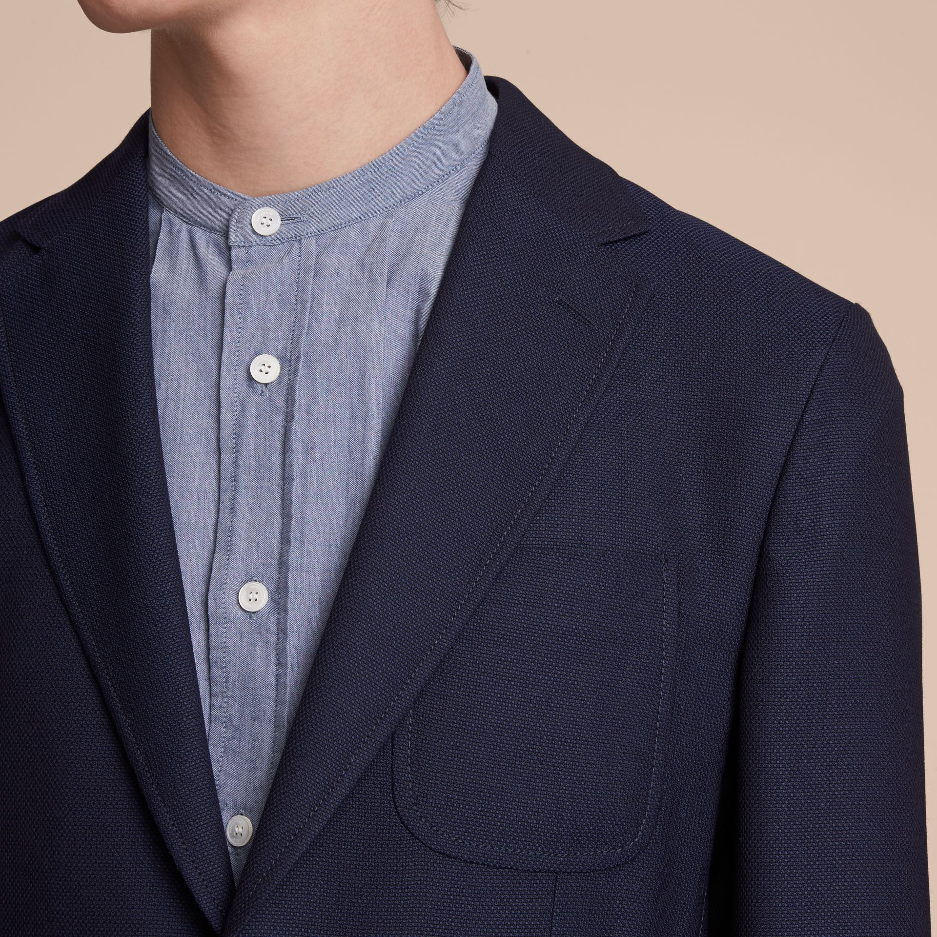 Slim Fit Wool Hopsack Tailored Jacket in Navy - Men | Burberry Australia - gallery image 5