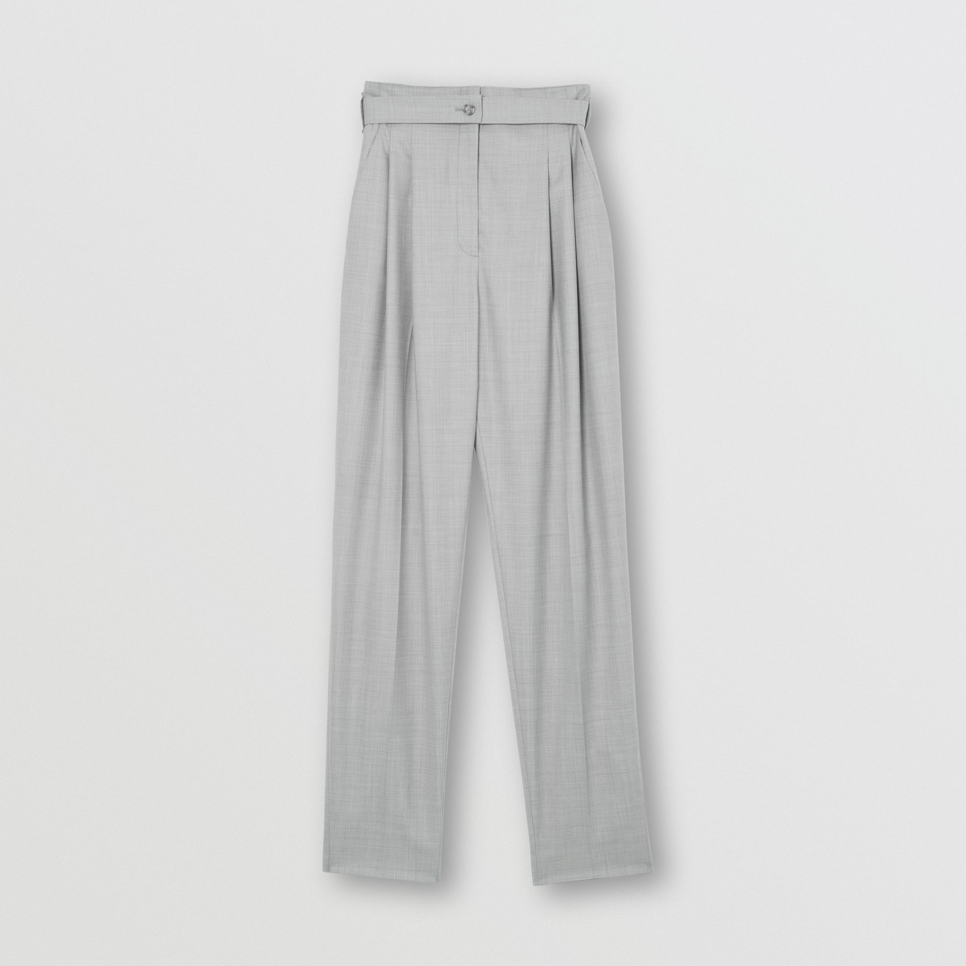 Cut-out Detail Wool Jersey Tailored Trousers in Cloud Grey - Women | Burberry Canada - gallery image 3