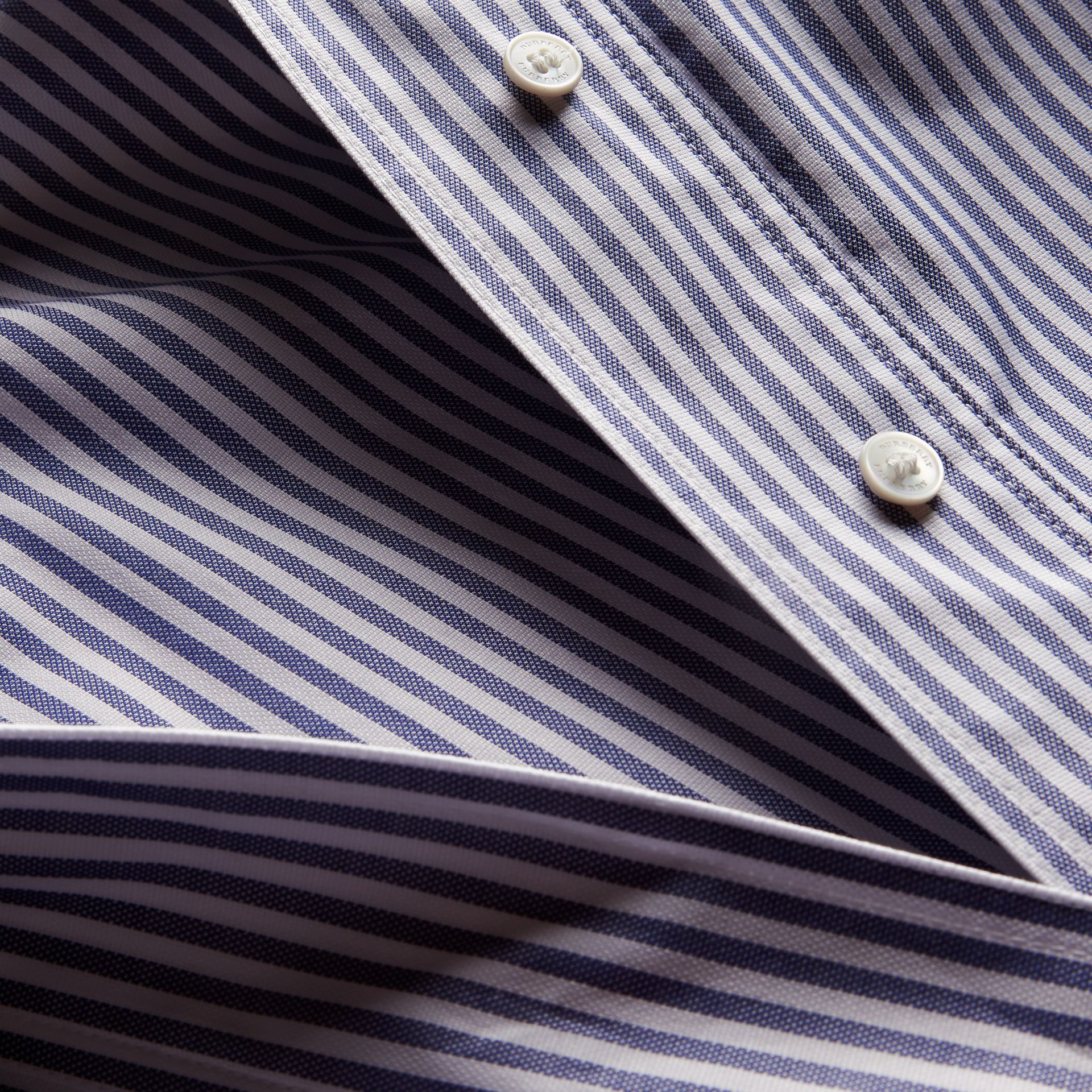 Navy Striped Cotton Shirt with Ruched Sleeves - gallery image 2