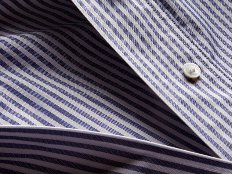 Navy Striped Cotton Shirt with Ruched Sleeves - cell image 1