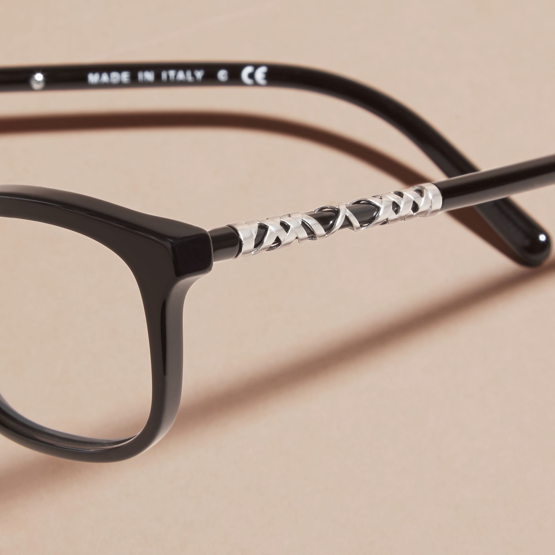 Check Detail Oval Optical Frames Black - gallery image 2