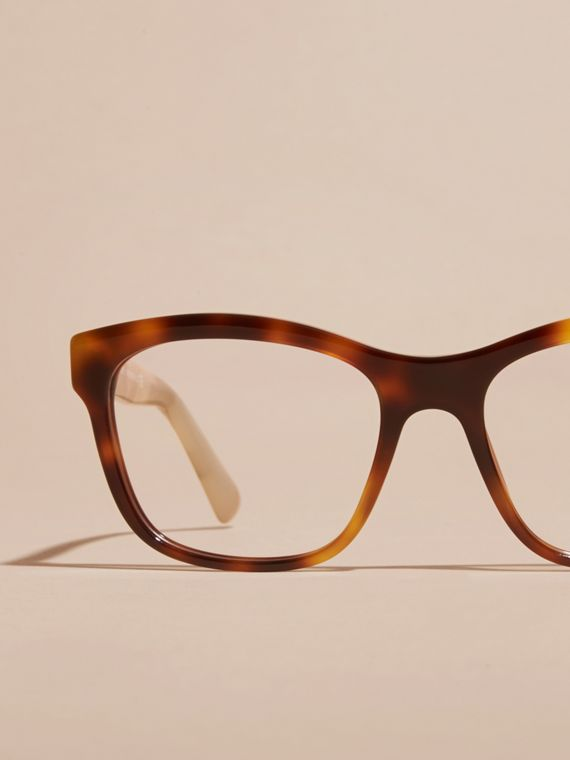 Check Detail Square Optical Frames Light Russet Brown - cell image 2