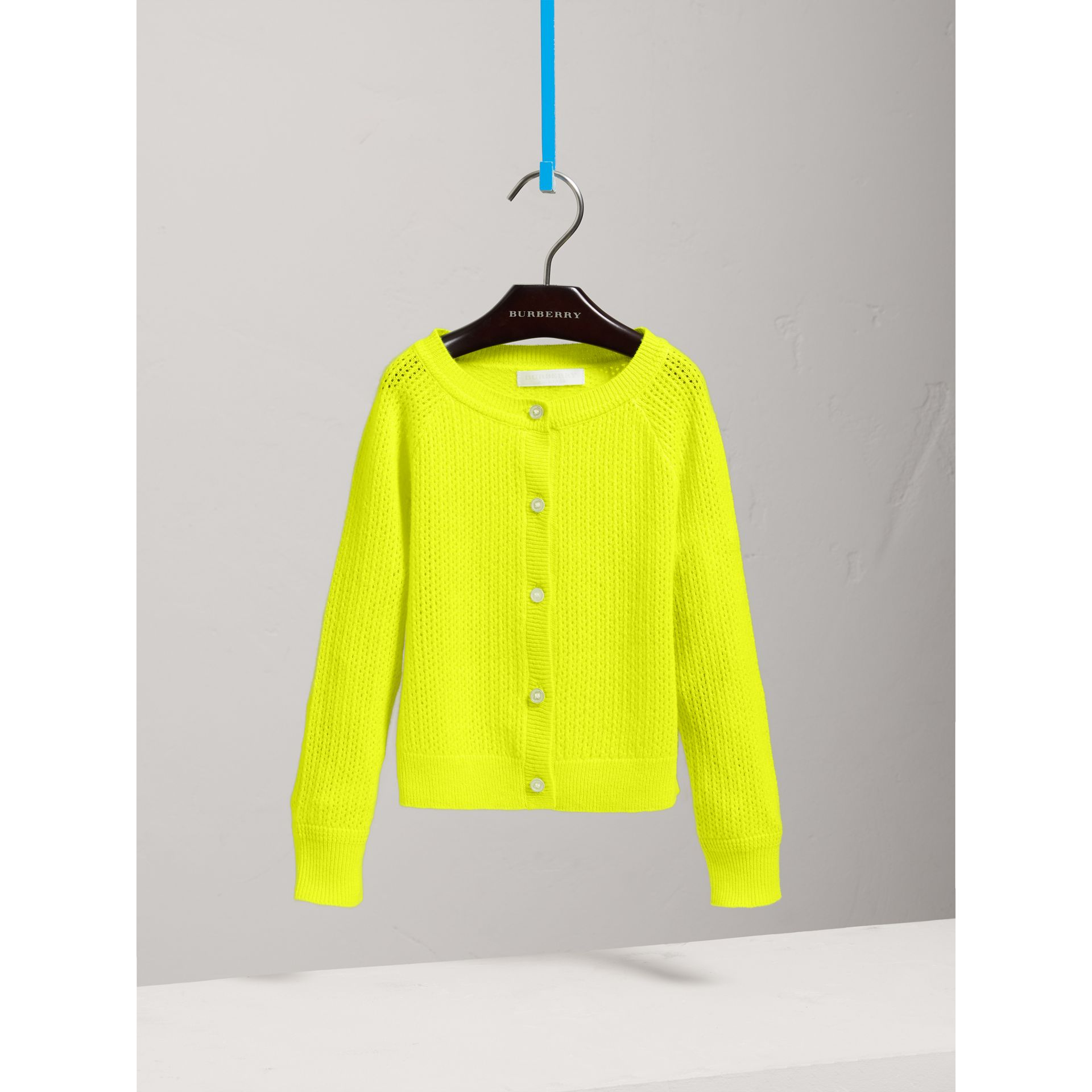 Open-stitch Knitted Cashmere Cardigan in Neon Yellow - Girl | Burberry United States - gallery image 2
