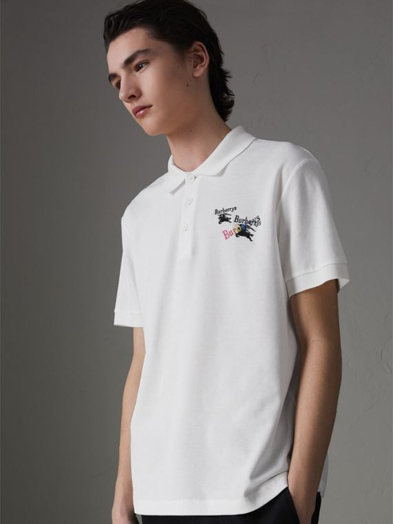 Triple Archive Logo Cotton Piqué Polo Shirt in White