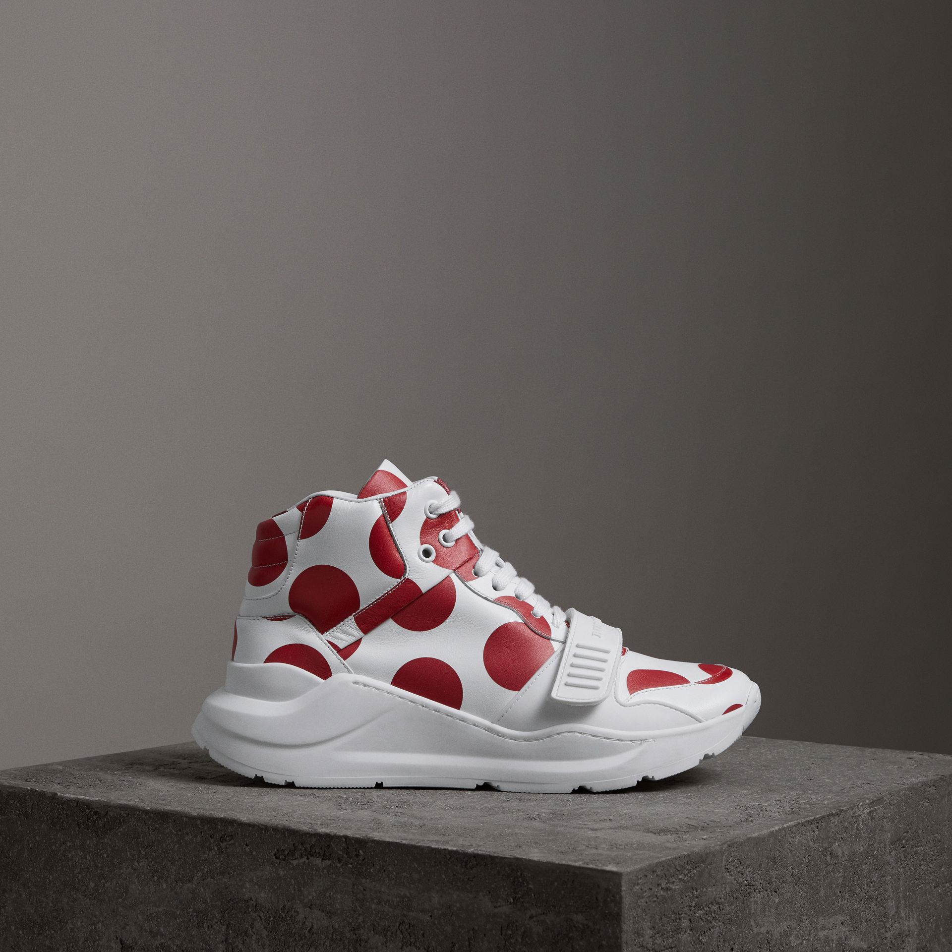 Spot Print Leather High-top Sneakers in Windsor Red/optic White - Women | Burberry - gallery image 0