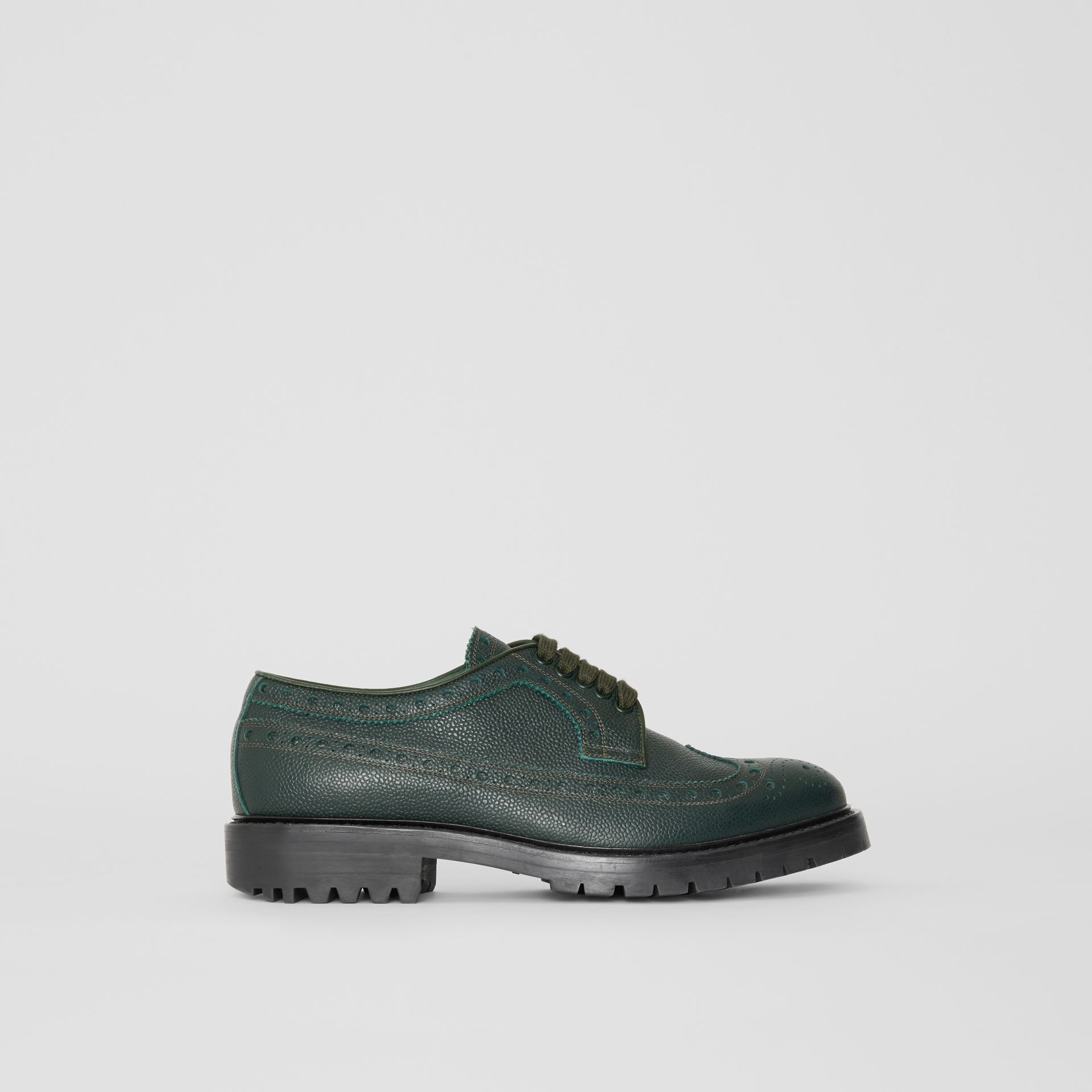 Brogue Detail Grainy Leather Derby Shoes in Deep Viridian Green - Men | Burberry Singapore - gallery image 5