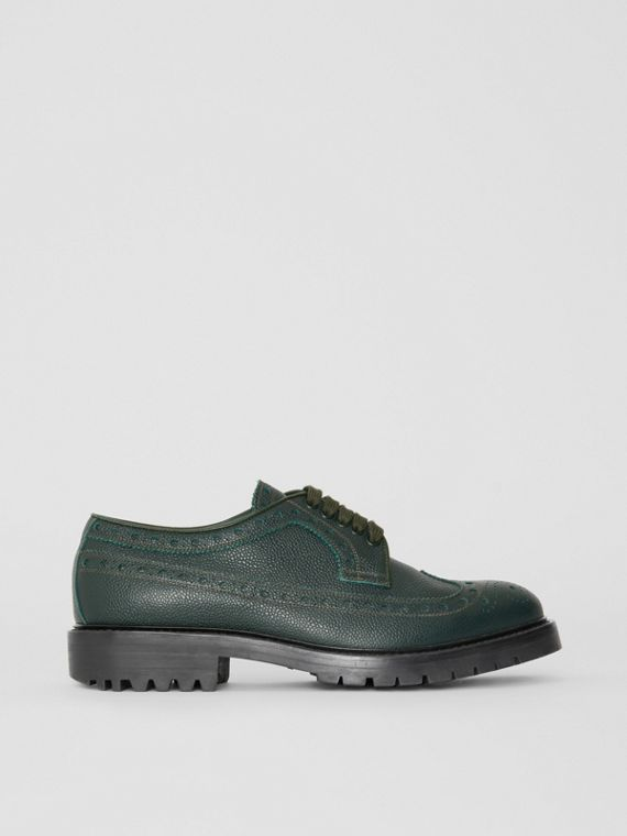 Brogue Detail Grainy Leather Derby Shoes in Deep Viridian Green